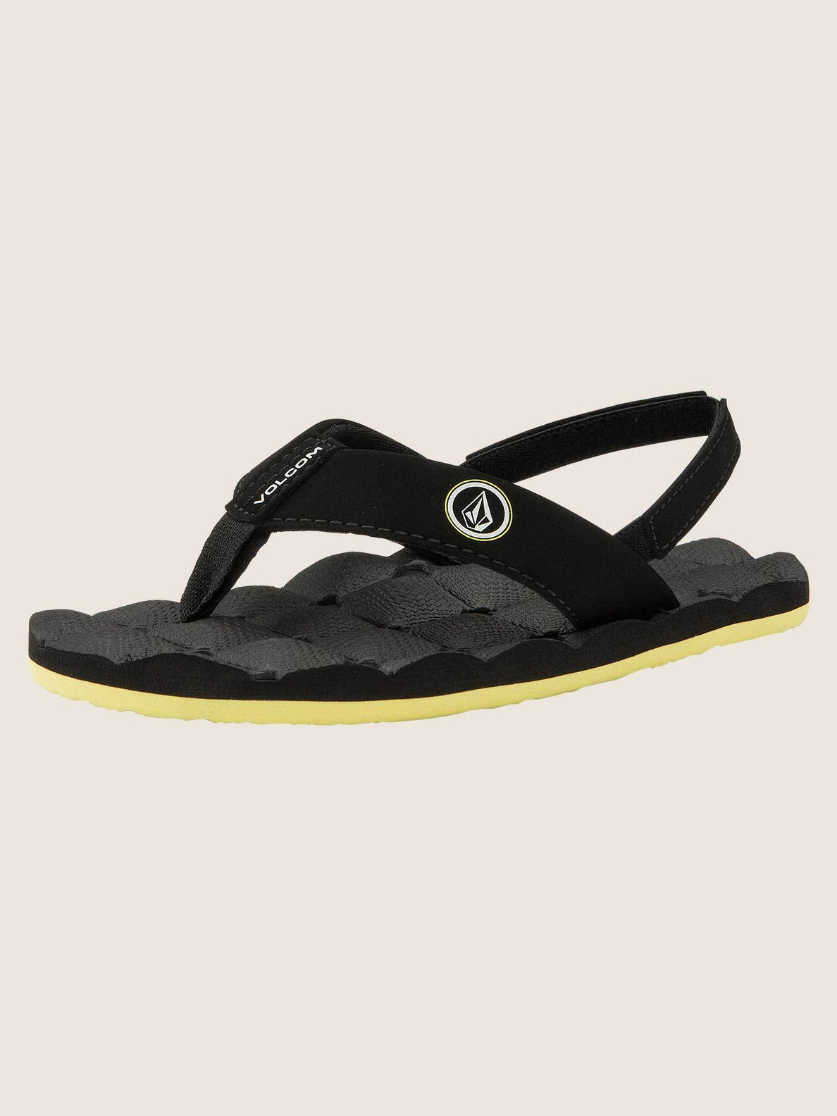 Little Boys Recliner Sandals In Sulfur Black, Back View