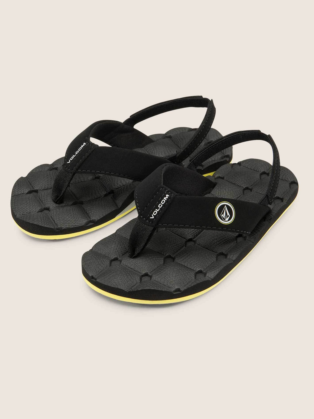Little Boys Recliner Sandals In Sulfur Black, Front View