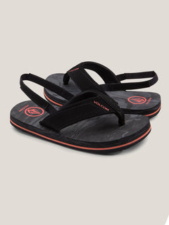 Little Boys Victor Sandals In Black Rinser, Front View