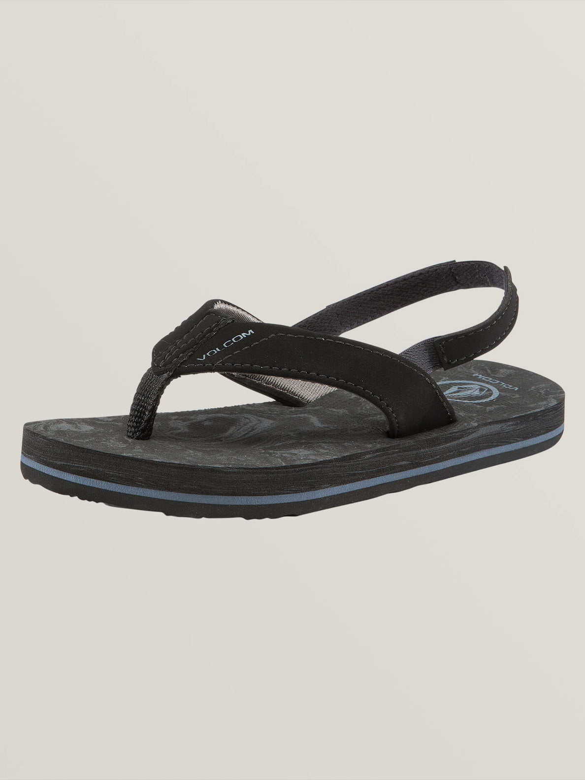 Little Boys Victor Sandals In Grey Blue, Back View