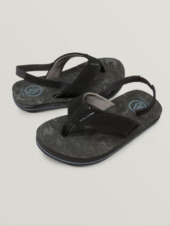 Little Boys Victor Sandals In Grey Blue, Front View