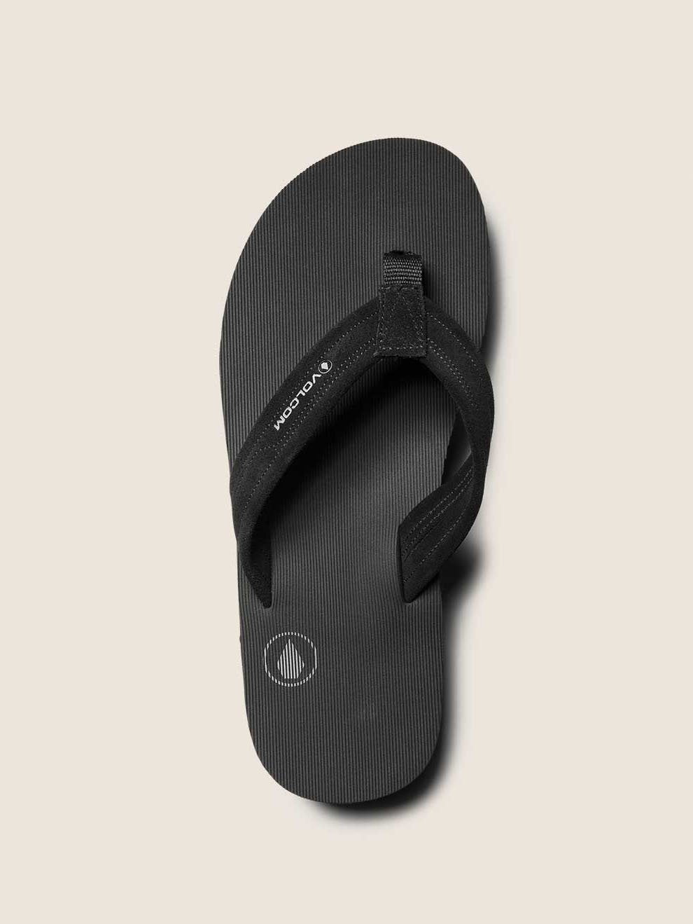 Driftin Leather Sandals In Black, Alternate View
