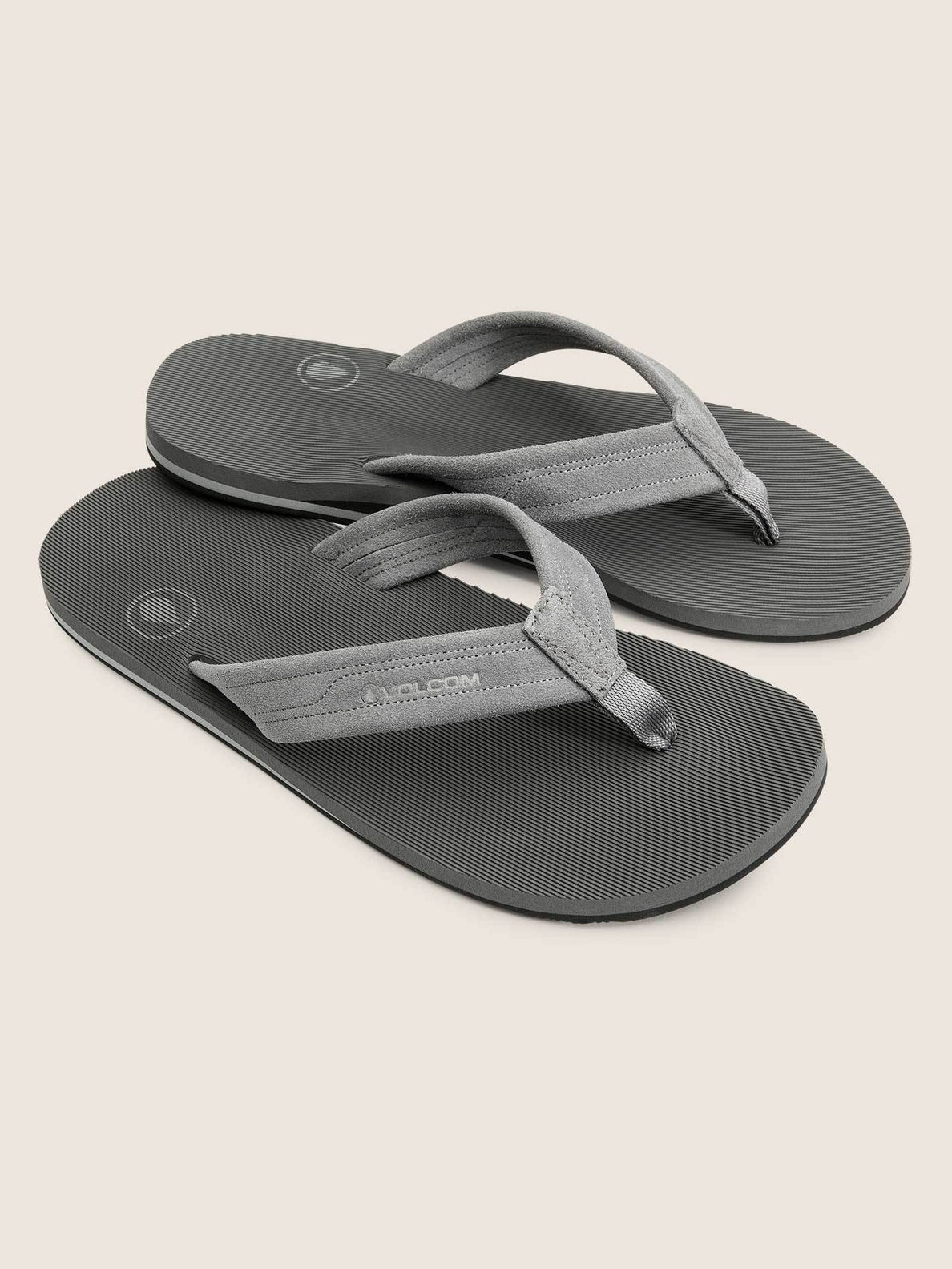 Driftin Leather Sandals In Neutral Grey, Front View