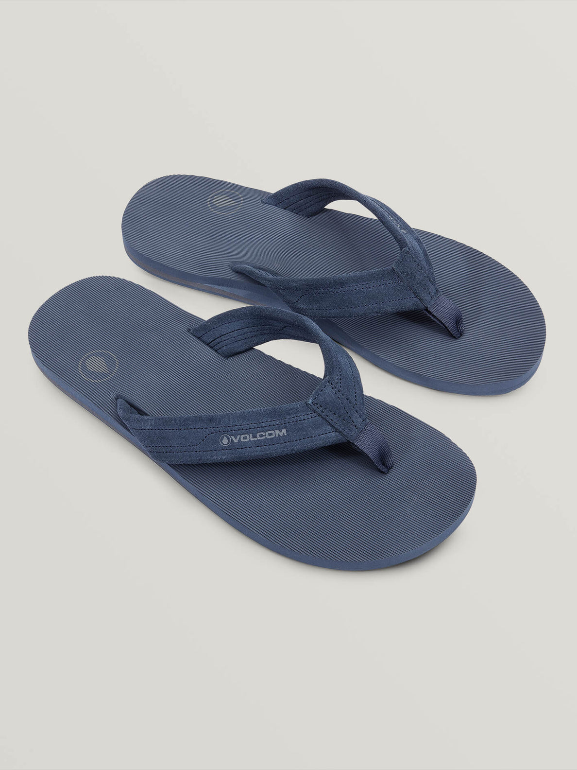 Driftin Leather Sandals In Slate Blue, Front View