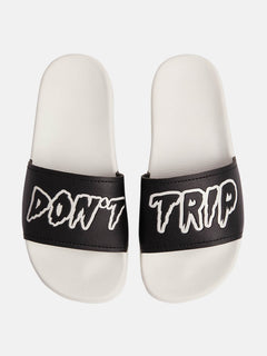 Don't Trip Unisex Slide Sandals In White Combo, Alternate View