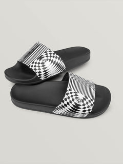 Don't Trip Slides In Black Stripe, Front View