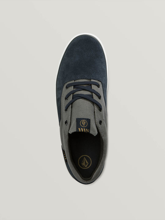 Draw Lo Suede Shoes In Navy Heather, Back View