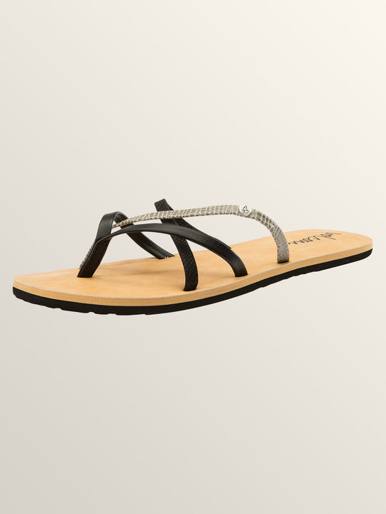 New School Sandals In Black Combo, Back View