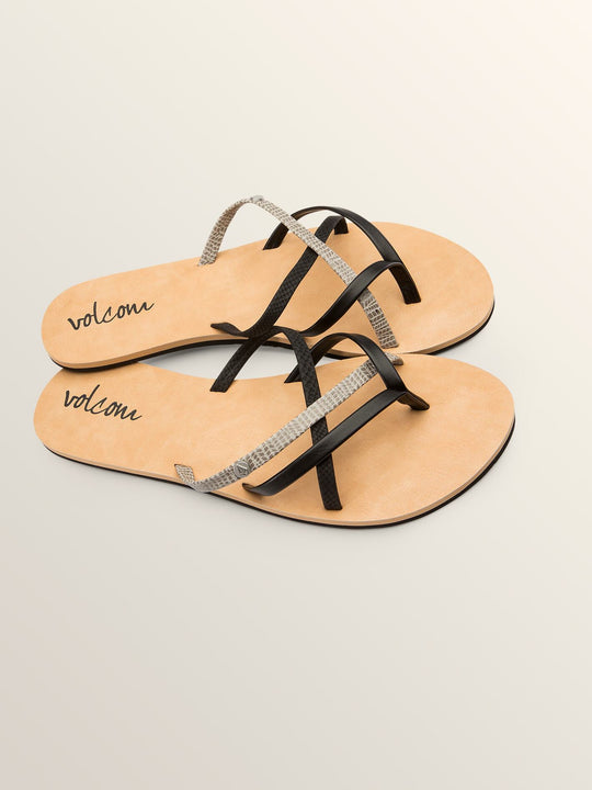 New School Sandals In Black Combo, Front View