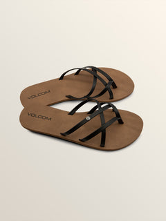 New School Sandals In Black, Front View