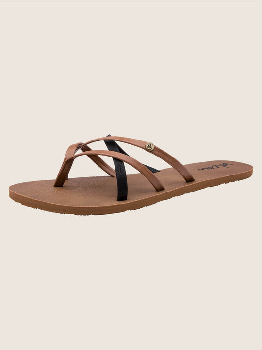 New School Sandals In Brown Combo, Back View