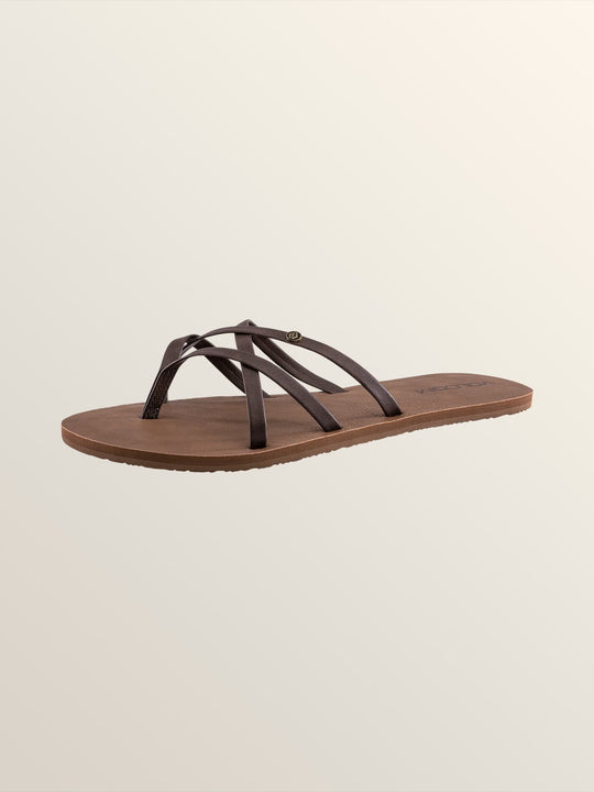 New School Sandals In Brown, Back View
