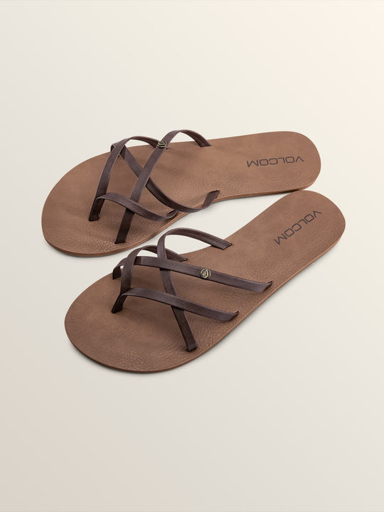 New School Sandals In Brown, Front View