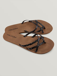 New School Sandals - Black White