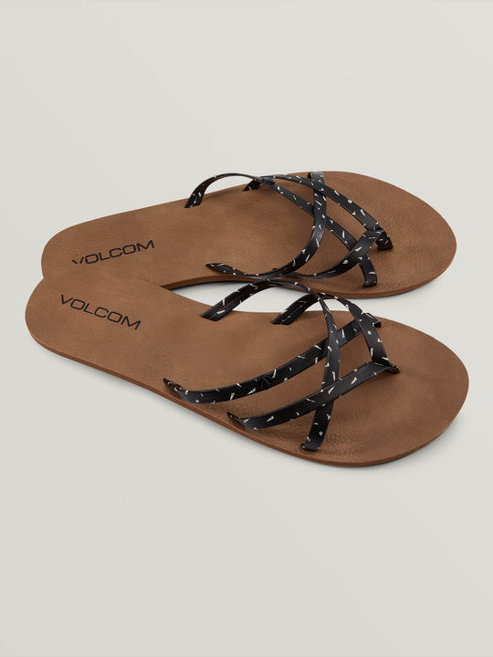 New School Sandals In Black White, Front View