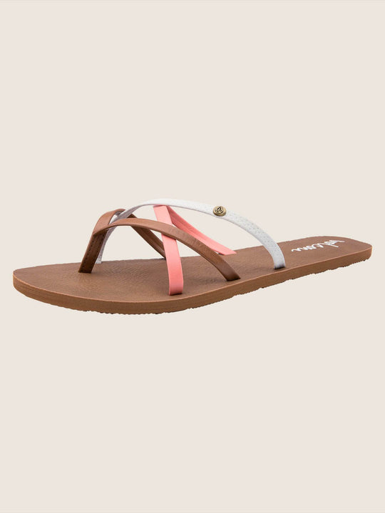 New School Sandals In Coral, Back View