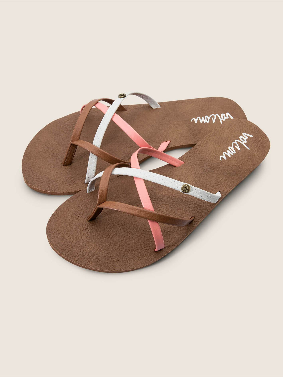 New School Sandals In Coral, Front View