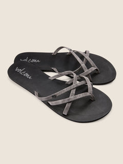 New School Sandals In Grey, Front View