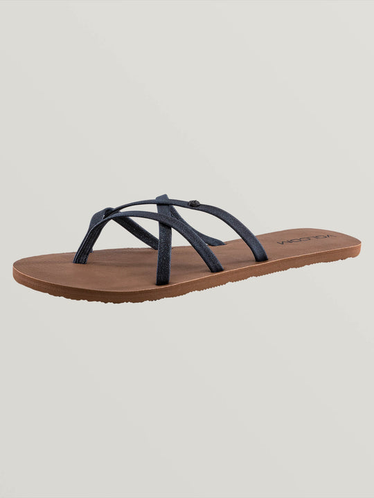 New School Sandals In Midnight Blue, Back View