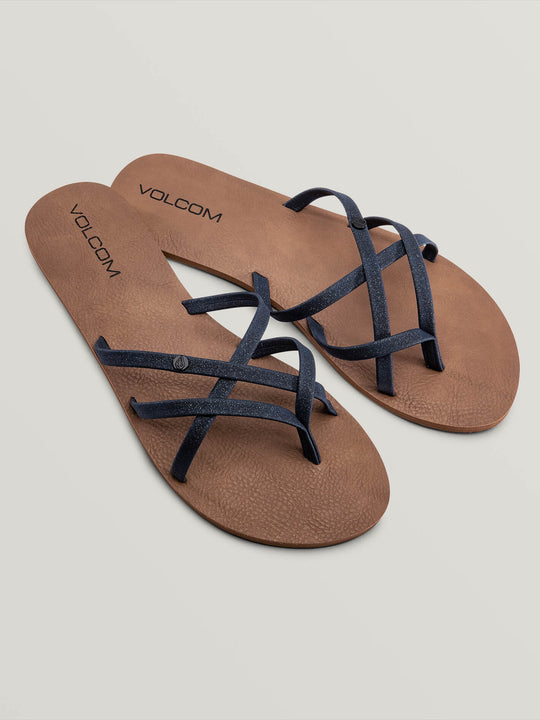 New School Sandals In Midnight Blue, Front View