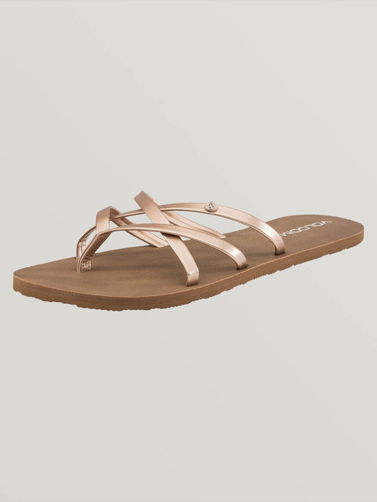 New School Sandals In Rose Gold, Back View