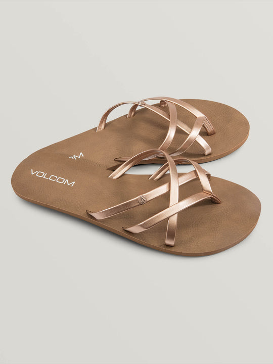 New School Sandals In Rose Gold, Front View