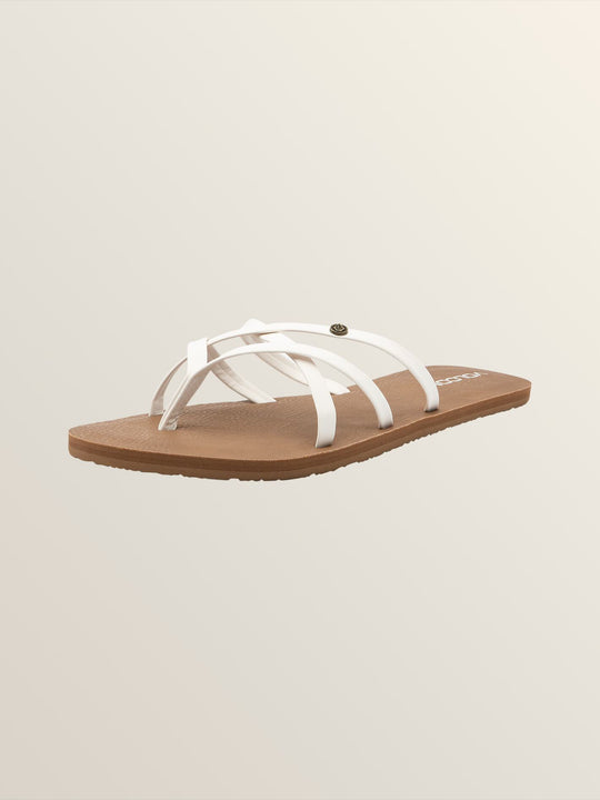 New School Sandals In White, Back View