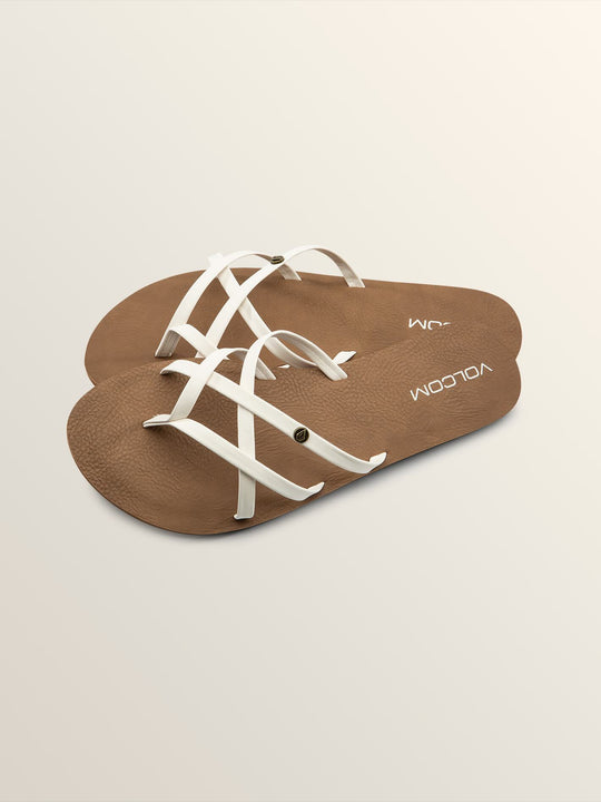 New School Sandals In White, Front View