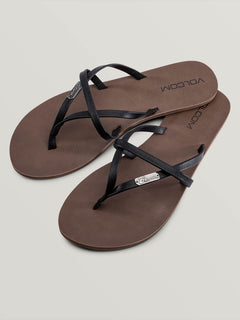 All Night Long Sandals In Black, Front View