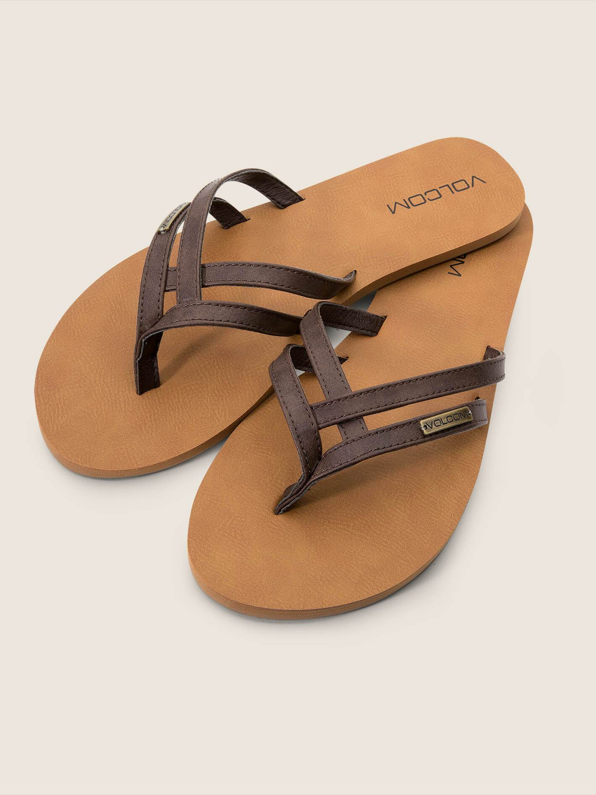 Crosstown Sandals In Brown, Front View