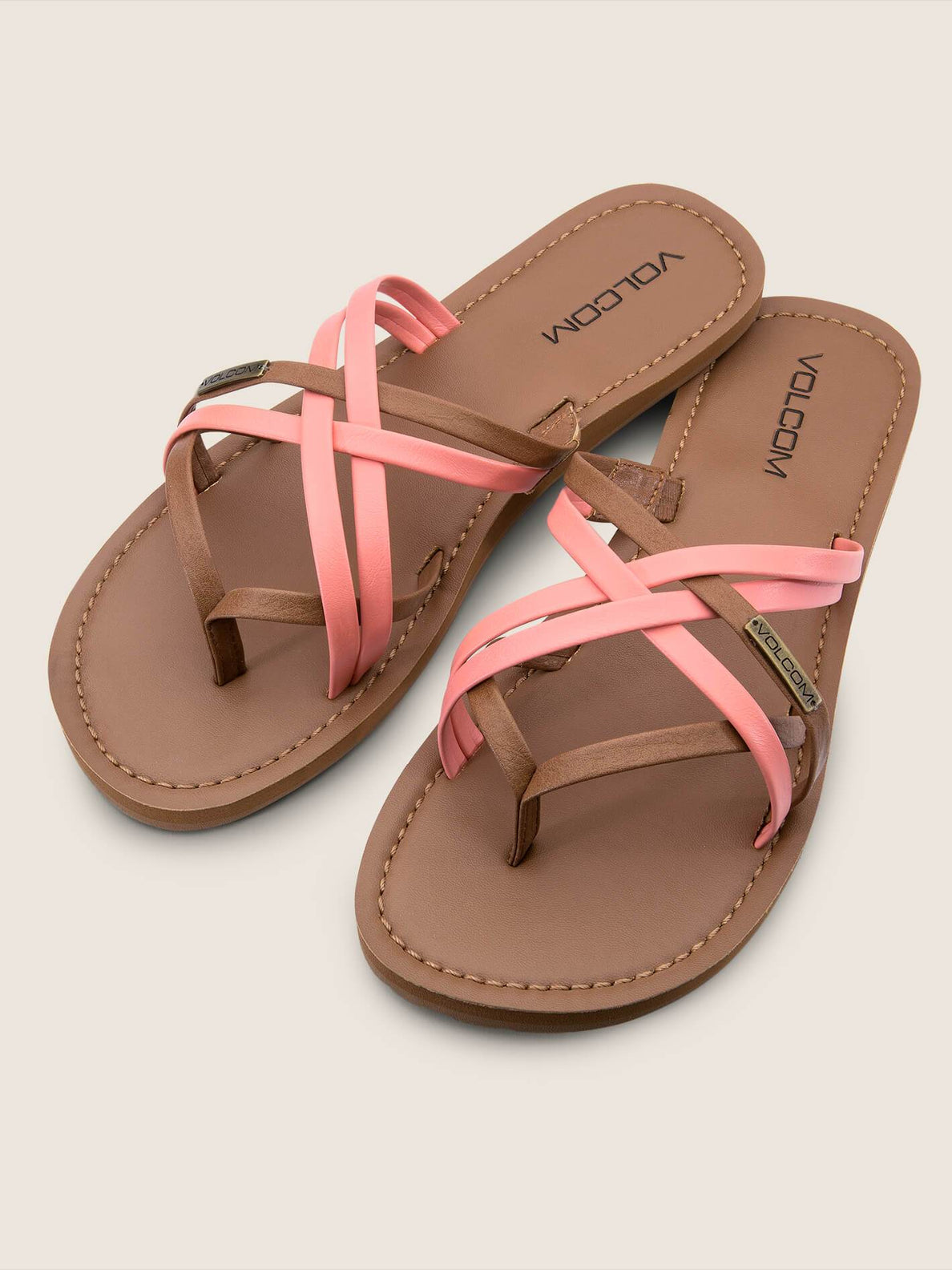 Strap Happy Sandals In Coral, Front View