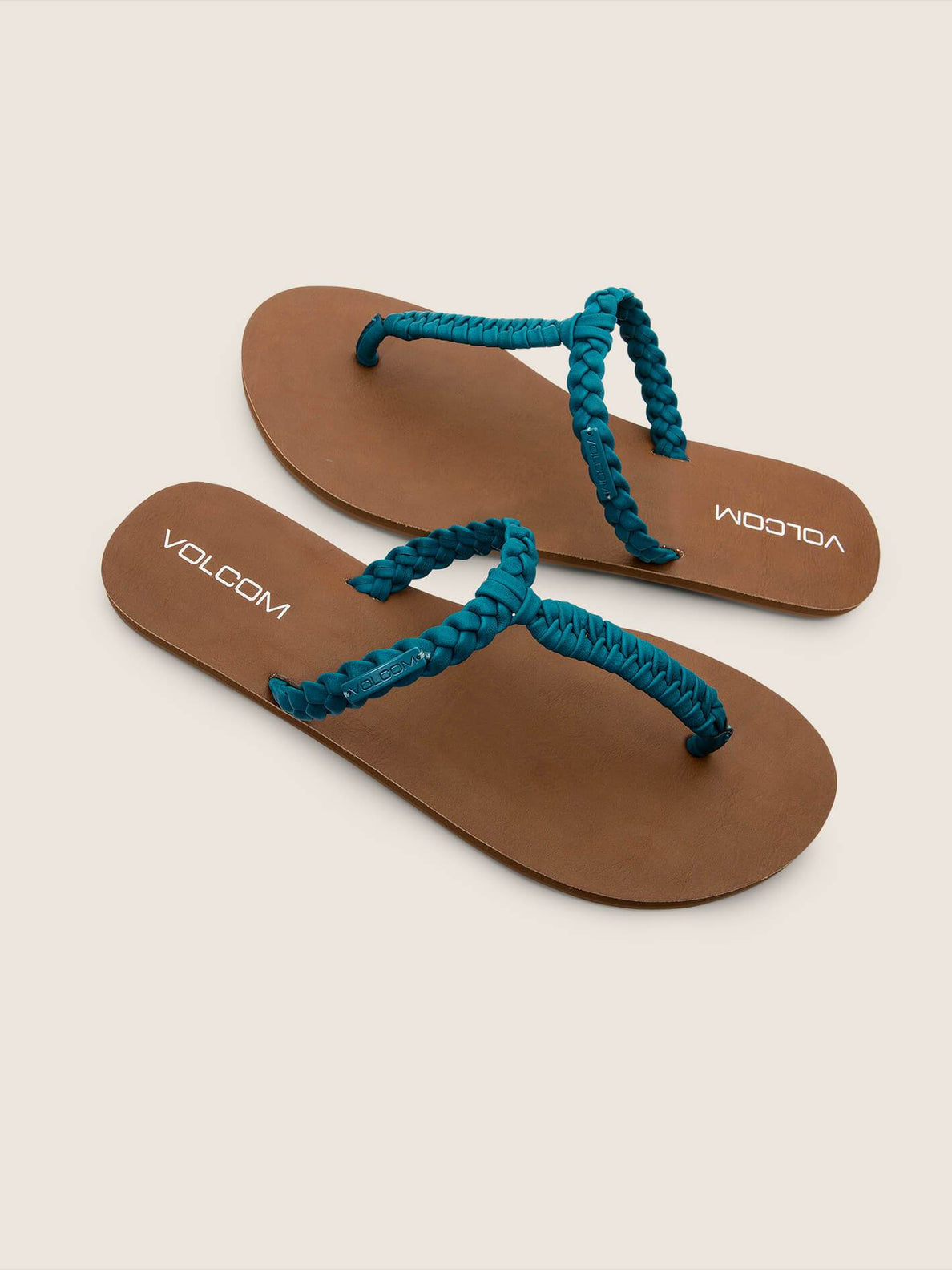Fishtail Sandals In Teal, Front View