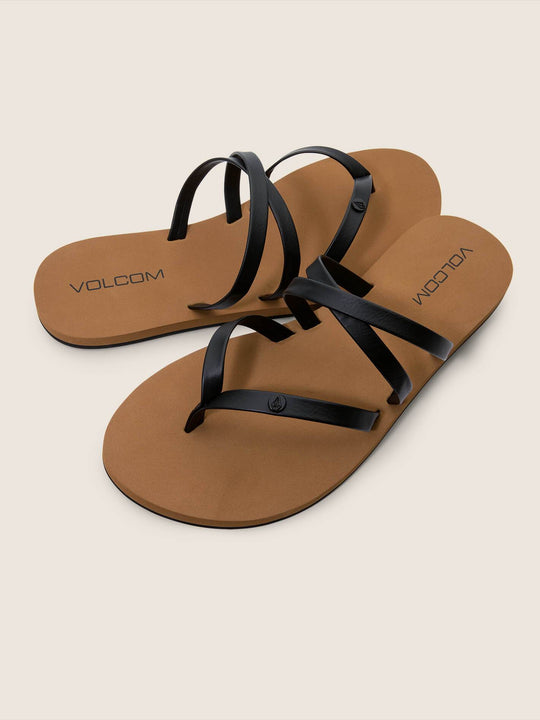 Easy Breezy Sandals In Black, Front View