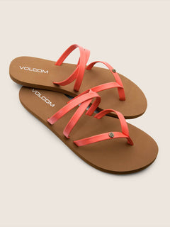 Easy Breezy Sandals In Neon Orange, Front View