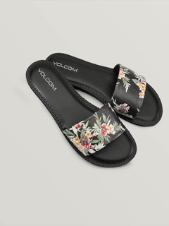 Simple Slide Sandals In Black Combo, Front View