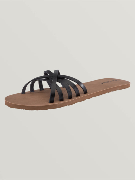 Sundaze Sandals In Black, Back View