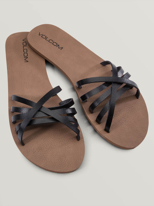Sundaze Sandals In Black, Front View