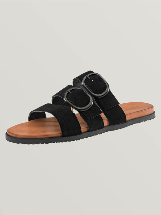 Buckle Up Buttercup Sandals In Black, Back View