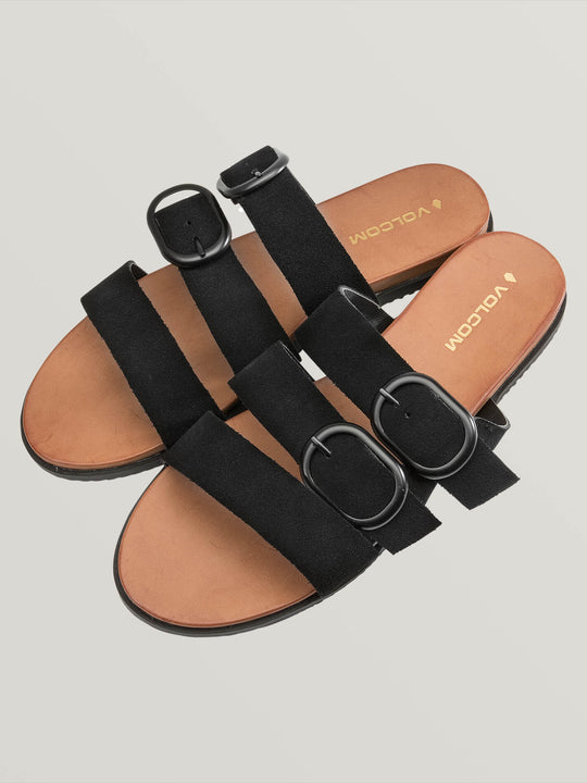 Buckle Up Buttercup Sandals In Black, Front View