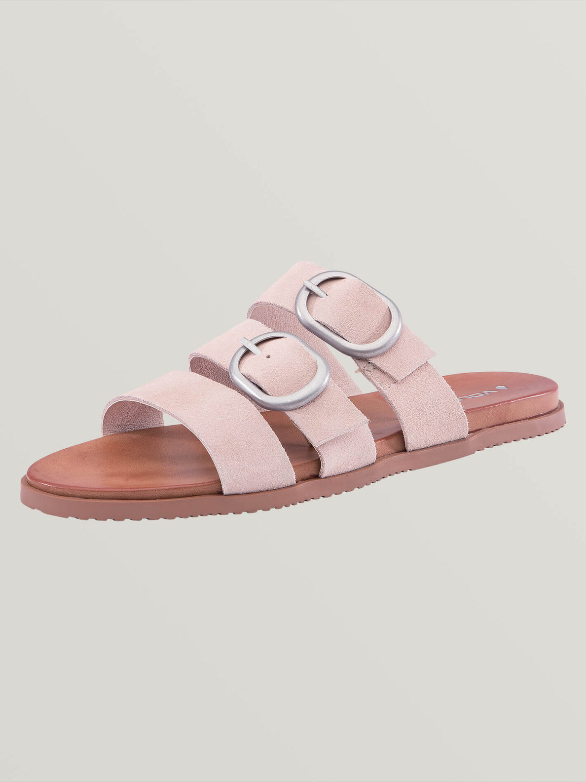 Buckle Up Buttercup Sandals In Mushroom, Back View