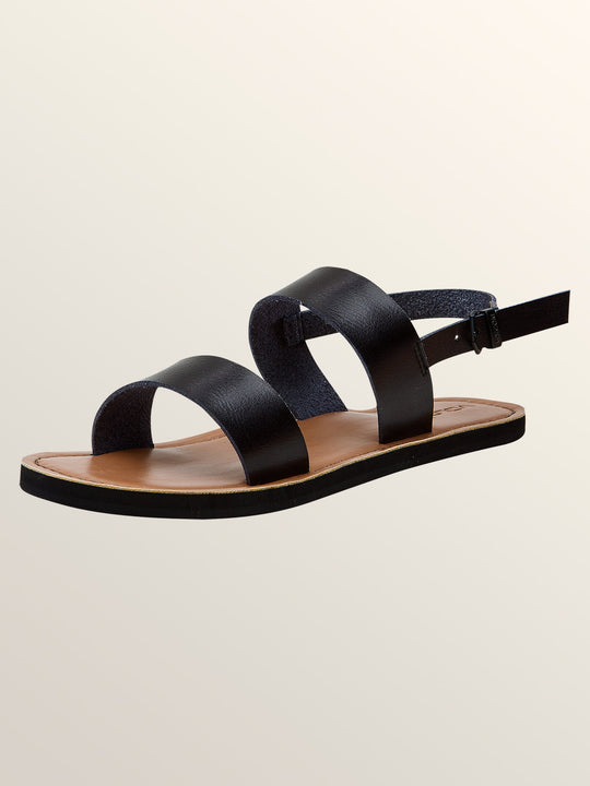 Stone Slide Sandals In Black, Back View
