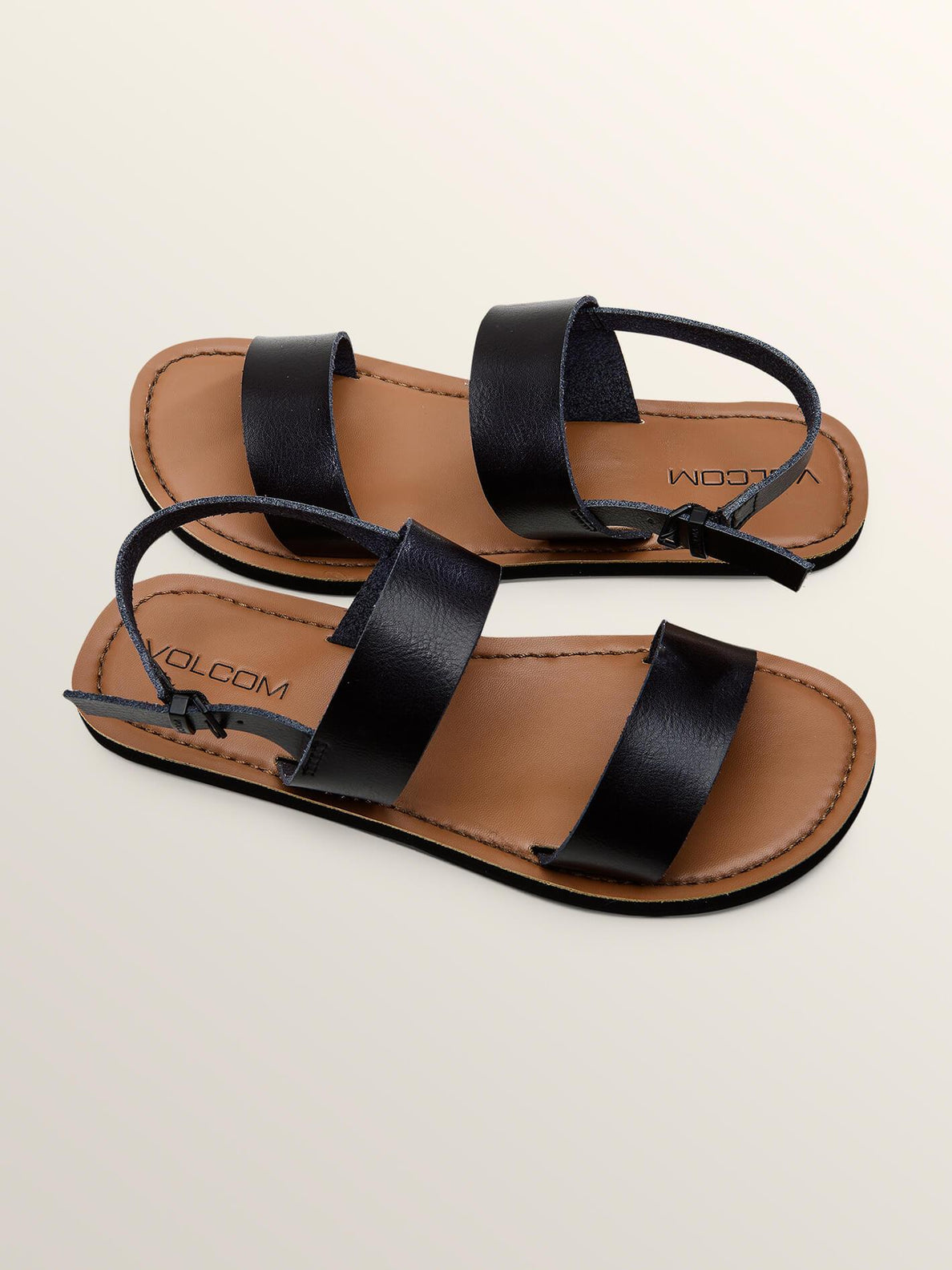Stone Slide Sandals In Black, Front View