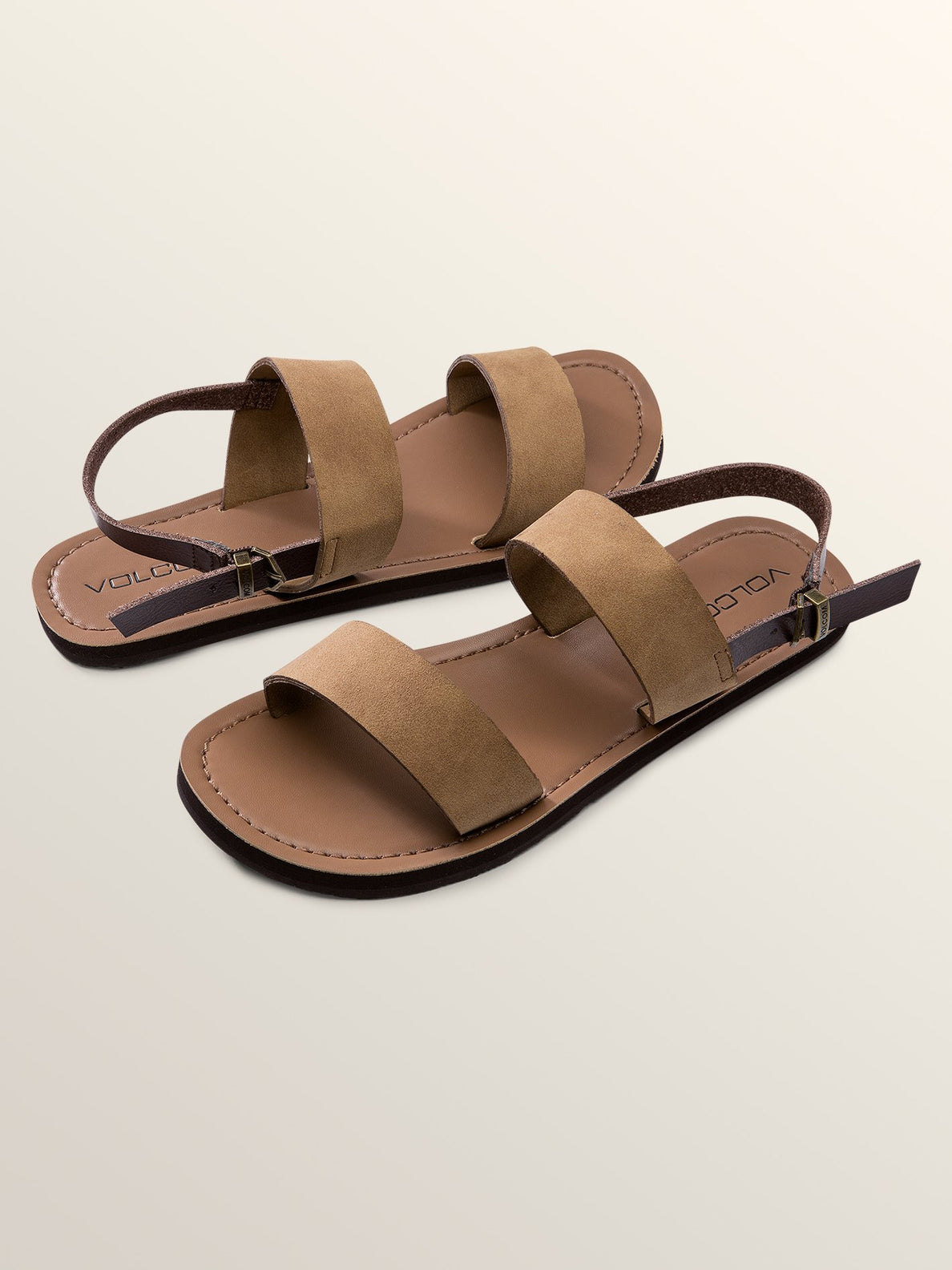 Stone Slide Sandals In Caramel, Front View