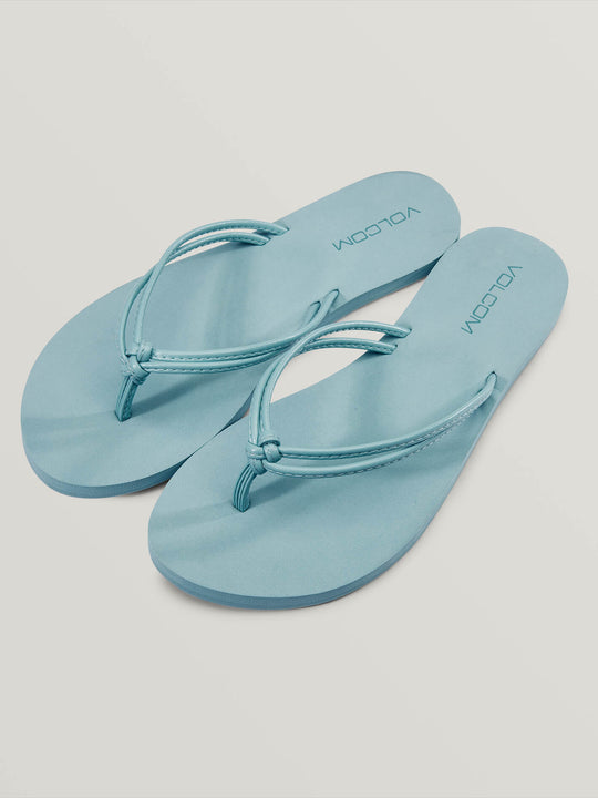 Forever Solid Sandals In Dusty Aqua, Front View