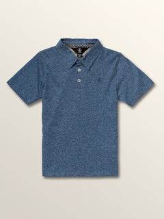 Little Boys Wowzer Polo In Snow Vintage Navy, Front View