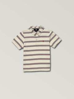 Little Boys Wowzer Stripe Polo In Off White, Front View