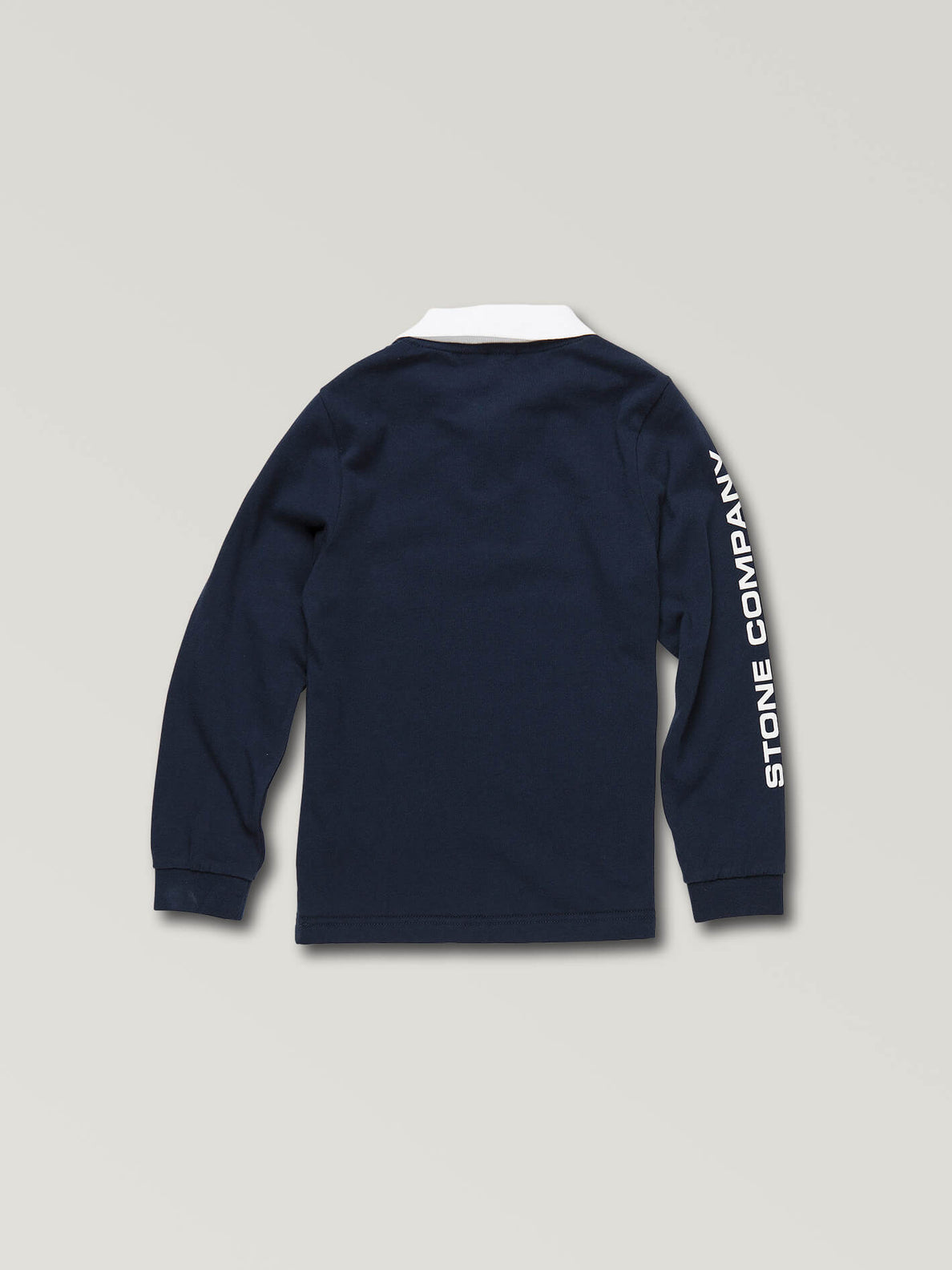 Little Boys Belmont Long Sleeve Polo In Navy, Back View