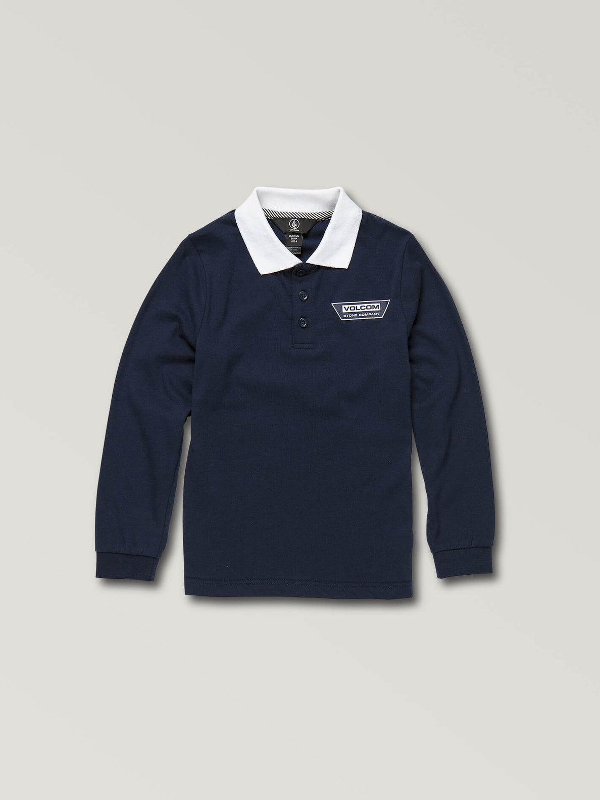 Little Boys Belmont Long Sleeve Polo In Navy, Front View
