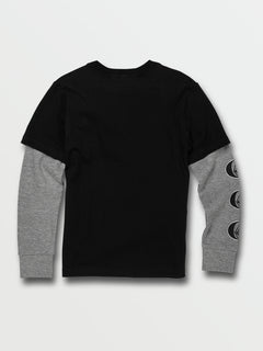 Little Boys Stone Stack Twofer Crew Long Sleeve Top - Black (Y0332030_BLK) [B]