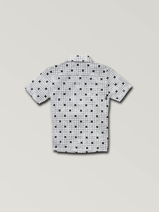 Little Boys Crossed Up Short Sleeve Shirt In White, Back View